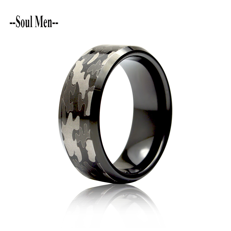 Excow Jewelry Piano Keyboard Ring Tungsten Carbide for Unisex