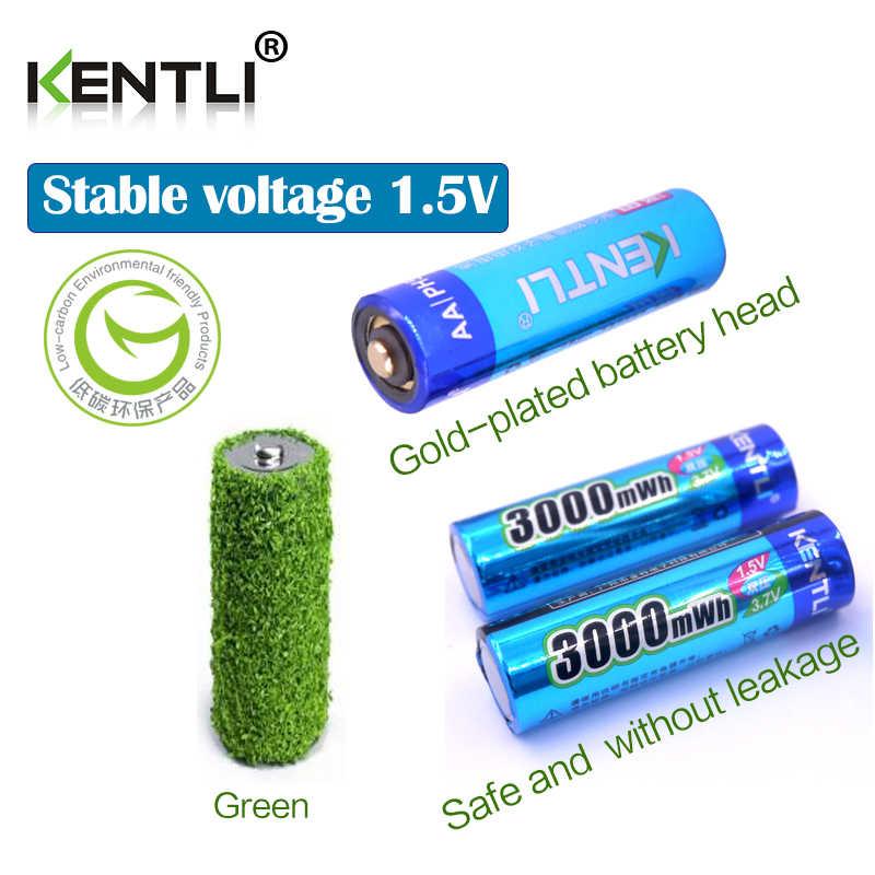 4 قطعة KENTLI AA 1.5 فولت 3000mWh بوليمر ليثيوم أيون بطاريات قابلة للشحن بطارية 4 فتحات USB شاحن بطارية ليثيوم أيون