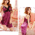Women Sexy Purple Satin Lace Robe Sleepwear Lingerie Nightdress G-string Pajamas