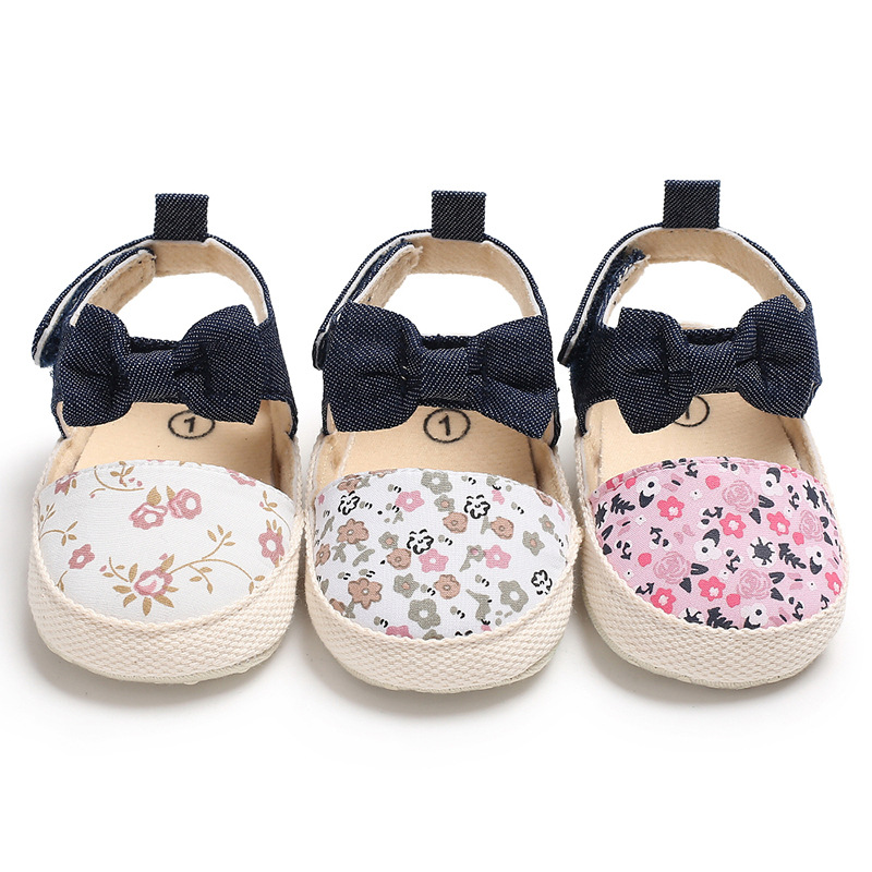 Spring Summer And Autumn Baby Girl First Walker Children's Cotton Print Baby Soft Bottom Bow  Non-slip Baby Shoes