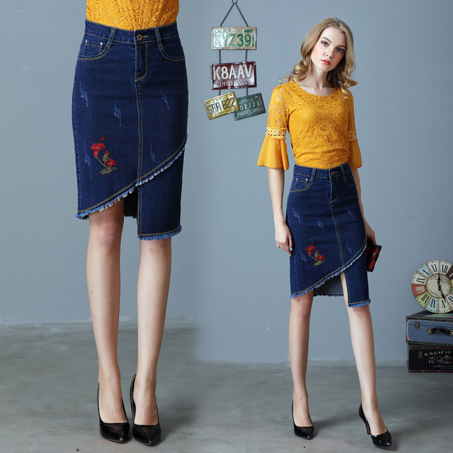 56413906c Long Denim Skirt Embroidered Fancy Jeans Skirt Womens Ladies Summer Fashion  Clothes High Waist Pencil Knee