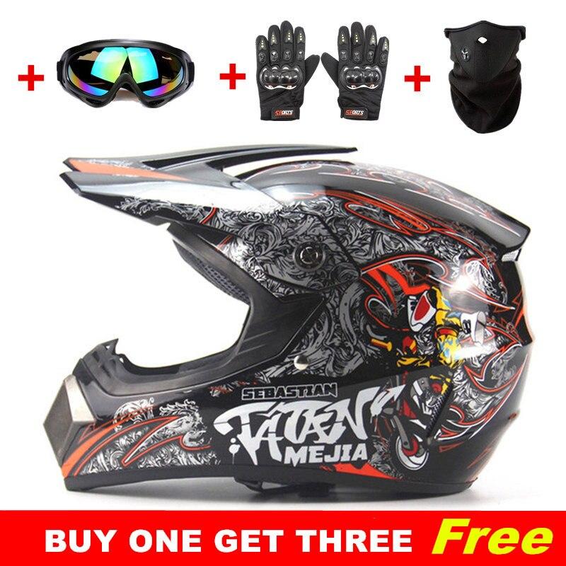 Buy one get three free Motocross Helmet ATV Dirt Bike Downhill MTB DH Racing Helmets Capacete Casco Motoqueiro Protective Casque