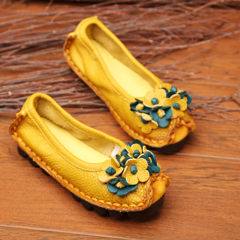 women  flats  Moccasins Genuine Leather  Flowers Handmade  Women Retro shoes  Ballet  Shoes Flats Women Loafers Flat Shoes seiko cs dress srz456p1