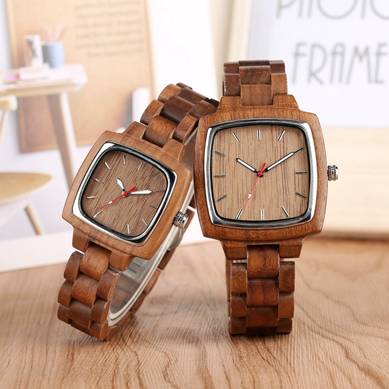 Unique Walnut Wooden Watches for Lovers Couple Men Watch Women Woody Band Reloj Hombre 2019 Clock