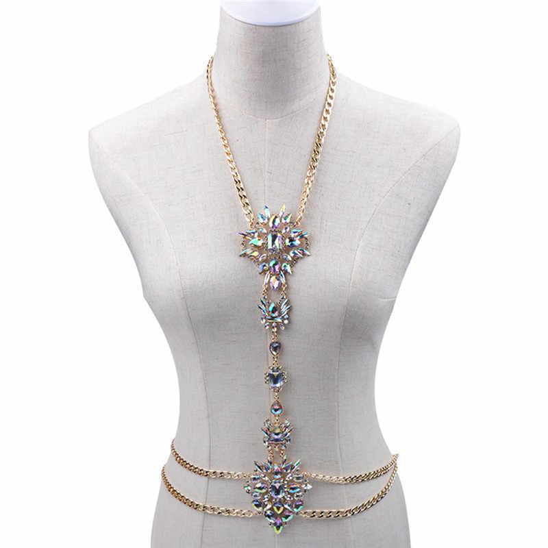 יוקרה פרח עיצוב גוף שרשרת ארוך שרשרת זהב מקסי בעבודת יד קישור שרשרת גוף ביקיני תכשיטי לנשים סקסי