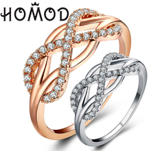 HOMOD 2019 Fashion High Quality AAA Cubic Zirconia Rose Gold Weave Ring Engagement Wedding Rings For Women Gift