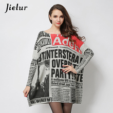 2017 Autumn New Fashion Long Oversized Sweater Casual Letter Print Women Sweaters Pullovers Cool Batwing Sleeve Female Pullover