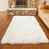 Luxury Rectangle Sheepskin Hairy Carpet Faux Mat Seat Pad Fur Plain Fluffy Soft Area Rug Home Decor