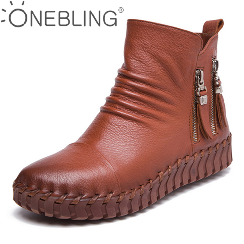 ONEBLING Winter Warm Short Plush Women Boots 2017 Autumn Fashion Genuine Leather Sewing Ankle Boots Zipper Soft Flat Shoes