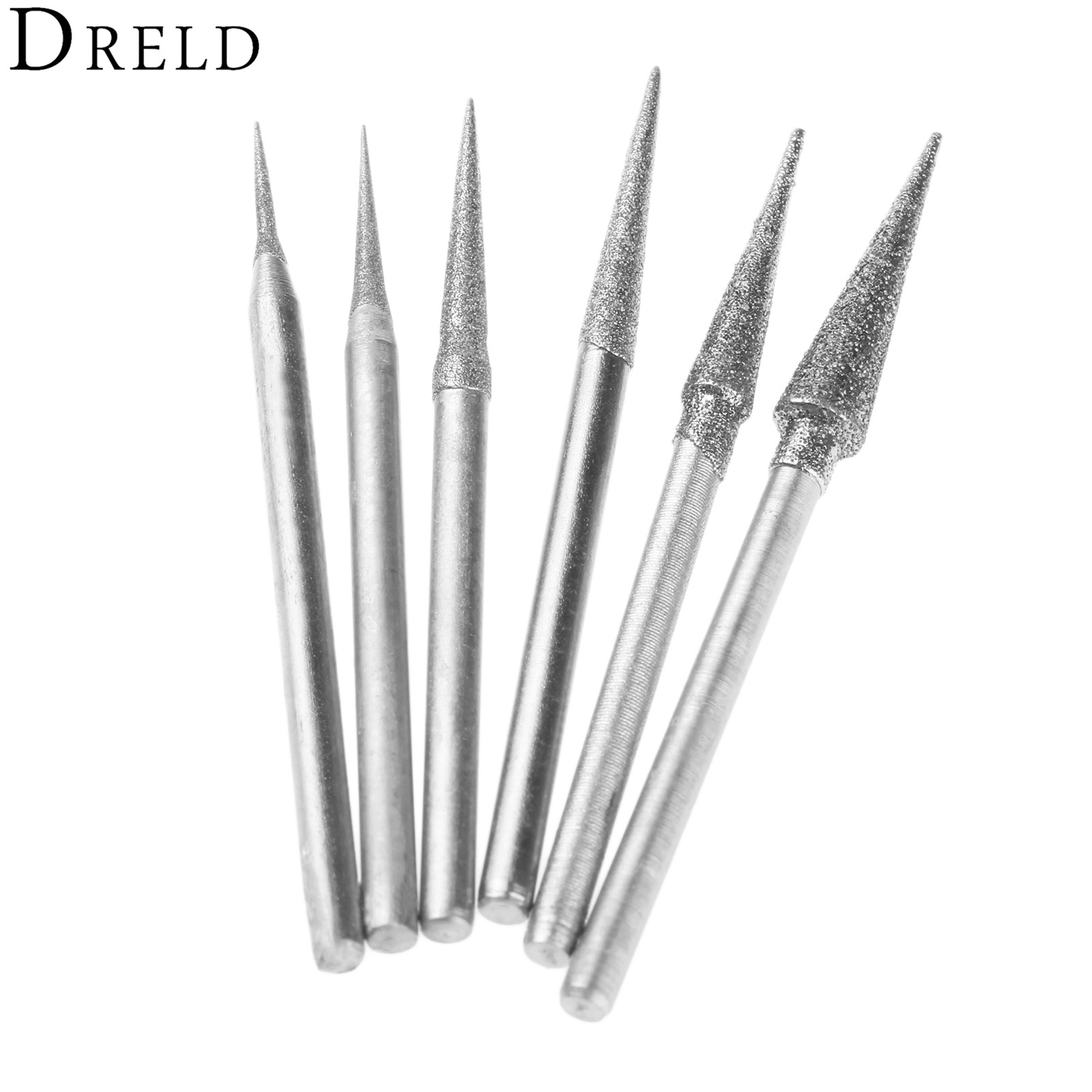 DRELD 6Pcs 1-4mm Diamond Grinding Head Grinding Needle Bits Burrs Metal Stone Jade Engraving Carving Tools 2.35mm Shank D Needle