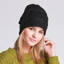 Winter Autumn Fashion Women Beanies Hat Black Knitting Flower Hat Warm Ear Cap
