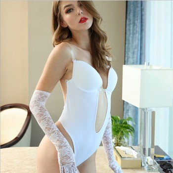 Woman Deep V Bodysuit Clear Strap Backless Plunge