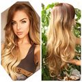New Arrival Brown to blonde Ombre Synthetic Wigs For Black Women ombre wave Heat Resistant Freetress Hair Synthetic Wigs Sale