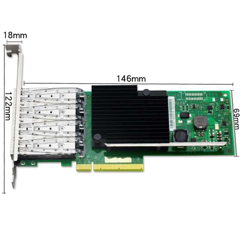 For Intel X710-DA4 Ethernet Converged Network Adapter 4Port SFP+ 10Gb ISCSI  NFS DDJKY PCI-e3 0 Controller Card