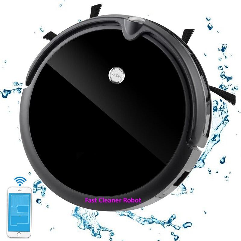 Más nuevo húmedo y seco aspiradora Robot con cámara, giroscopio, asignación de memoria, 350 ml tanque de agua. Batería de litio