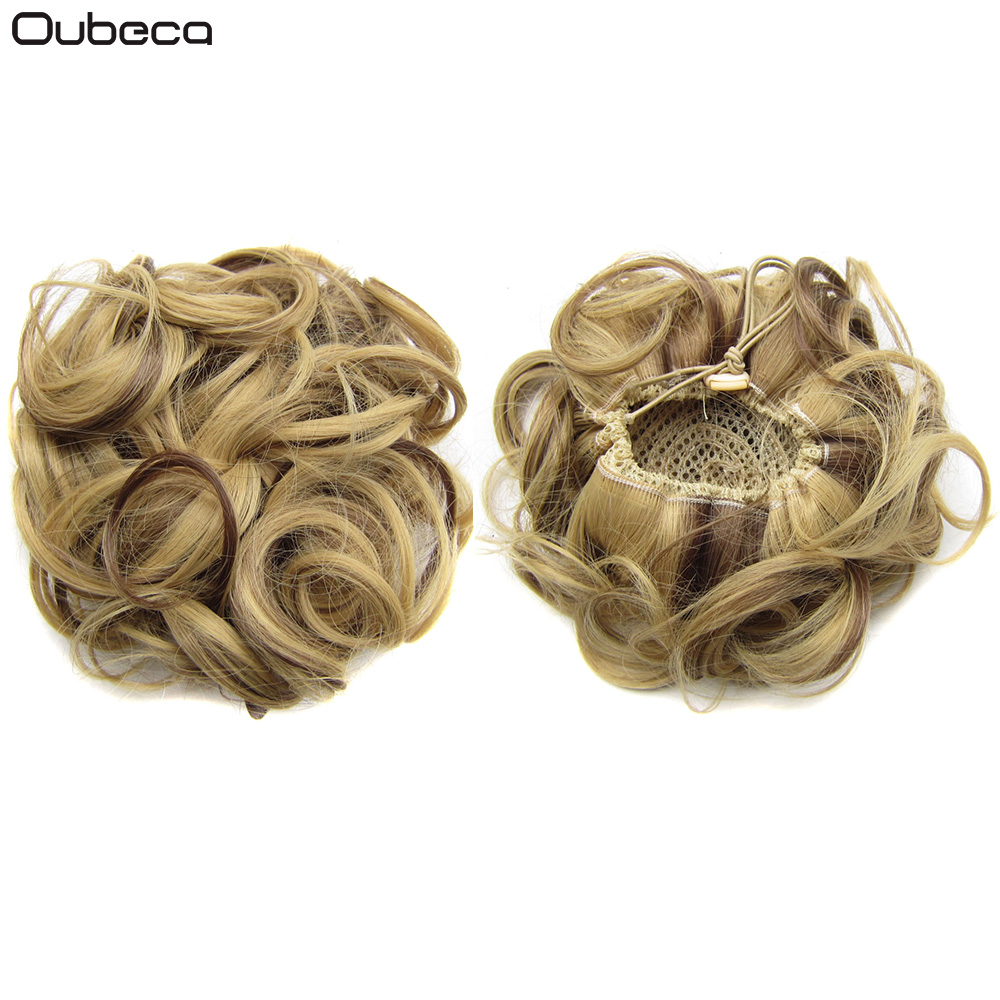 Oubeca Synthetic Drawstring Hair Bun Curly Messy Hair Buns Dount Chignon Hairpiece Updo Cover Ponytail Extensions For Women