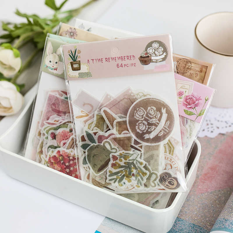 64 Pcs/pack Rose Vintage Decorative Stationery Sticker Tape Kids Craft Scrapbooking Sticker Label For Diary, Album