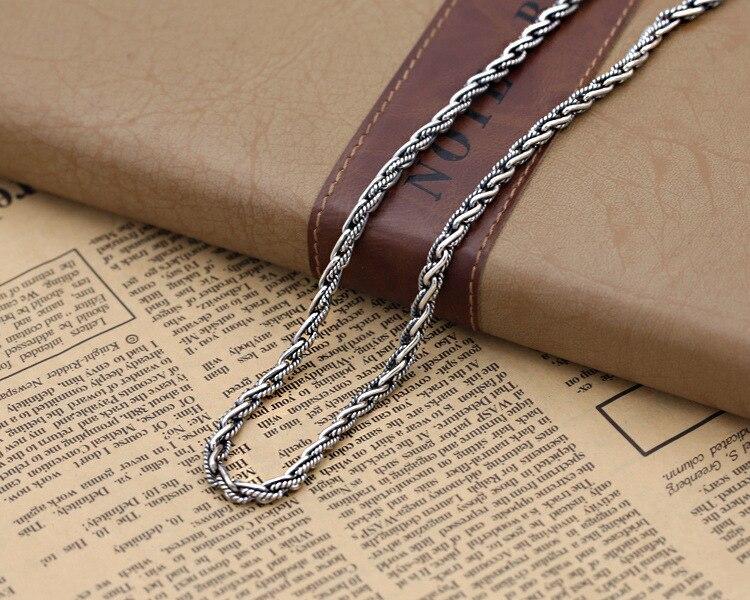 4 мм Ожерелье для кулонов ручной работы тайское ожерелье из стерлингового серебра 925 пробы Серебряное ожерелье с подвеской s Настоящее серебро 925 пробы ожерелье