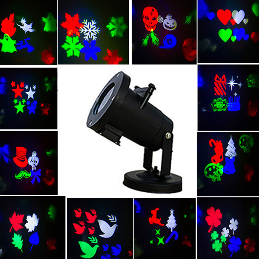 Genteel Thrisdar 12 Pattern Christmas Halloween Laser Projector Lamp Snowflake Outdoor Garden Landscape Led Spotlight Stage Disco Light To Have Both The Quality Of Tenacity And Hardness Stage Lighting Effect