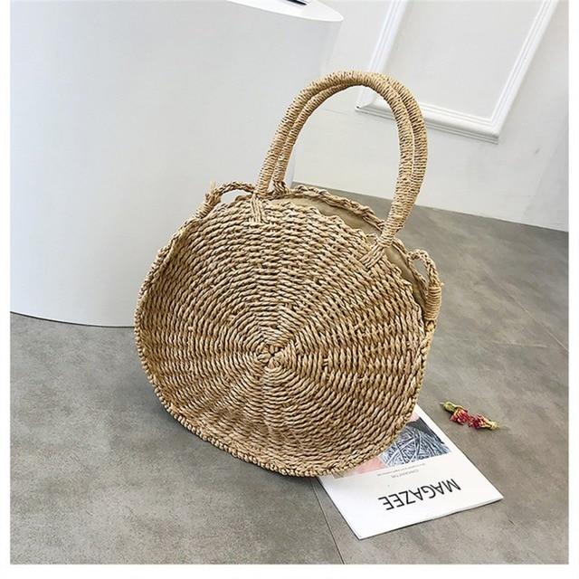 Hot 2018 Women Handmade Rattan Woven Round Handbag Female Vintage Retro Straw Knitted Bags Summer Beach