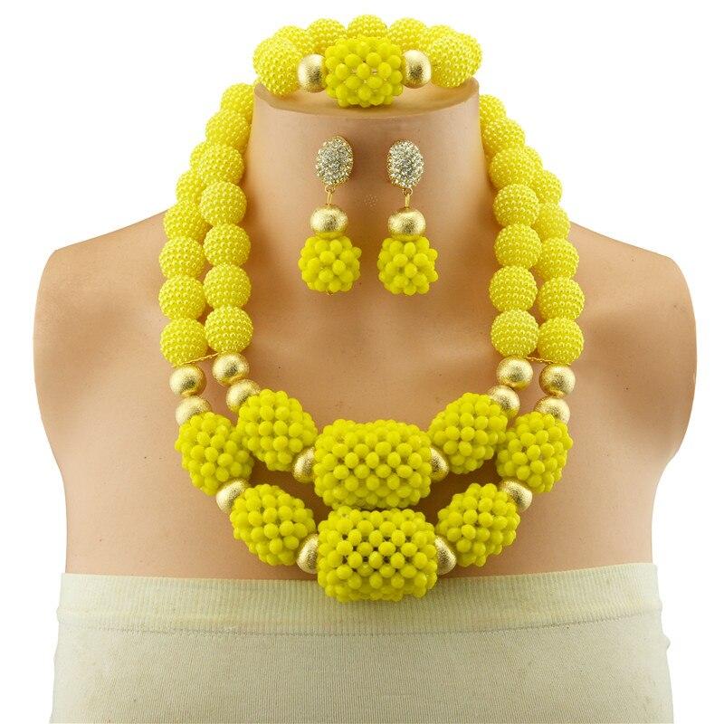 Gros perles africaines jaunes ensemble de bijoux en cristal de mode de mariage femmes Dubai perles de cuivre ensembles de bijoux or-couleur collier oreille