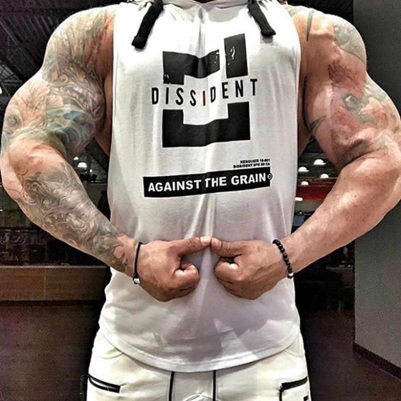 2019 мужские хлопковые толстовки с капюшоном, одежда для фитнеса, бодибилдинг, майка, мужские трендовые футболки без рукавов, рубашка, на каждый день, жилет, размер M-2XL