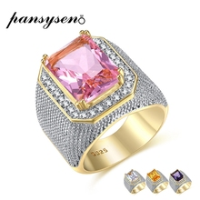 PANSYSEN Luxury Gold Color Punk Rock Men's Ring Silver 925 Jewelry Rotable Rings For Women Party Wholesale Accessories Size 8-12 zabra solid luxury 925 silver customized ring beauty and the beast punk rock vintage rings for men women luxury jewelry