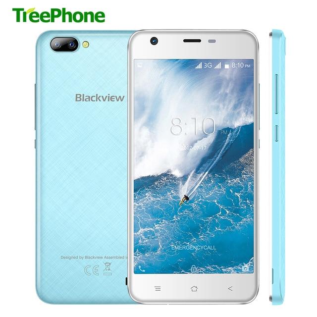 Оригинал Blackview A7 мобильного телефона MTK6580 Quad Core 5.0 дюймов IPS экран HD смартфон Android 7.0 1 ГБ оперативной памяти 8 ГБ 3 г сотовом телефоне