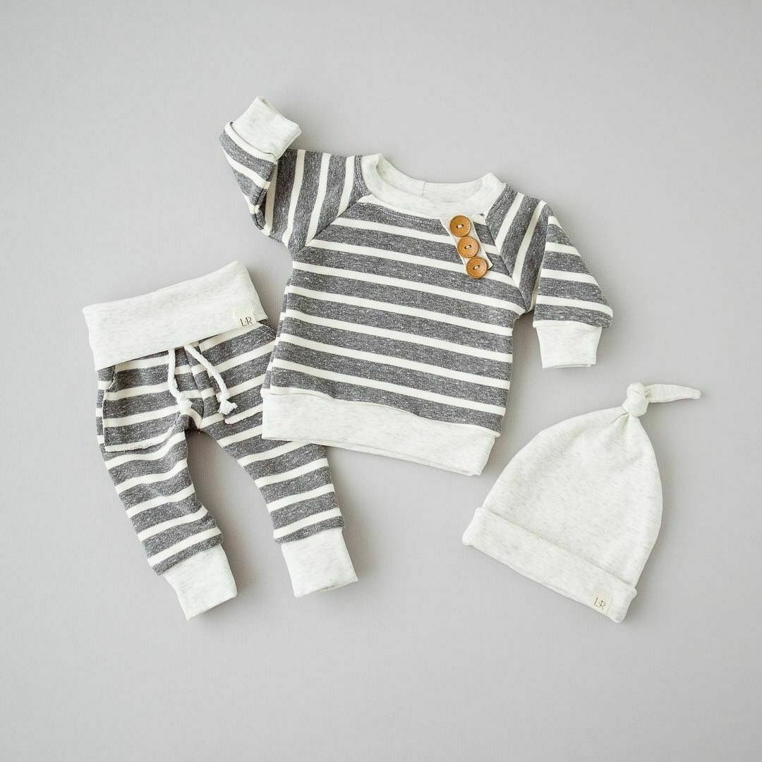 3PCS Newborn Baby Boys Girls Fastener T Shirt Pants Hat Striped Outfits Cotton Clothes