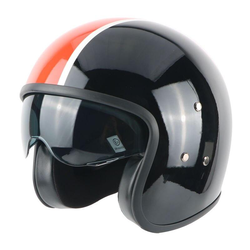 ФОТО Motorcycle leather lining fiberglass built-in lens helmet retro helmet