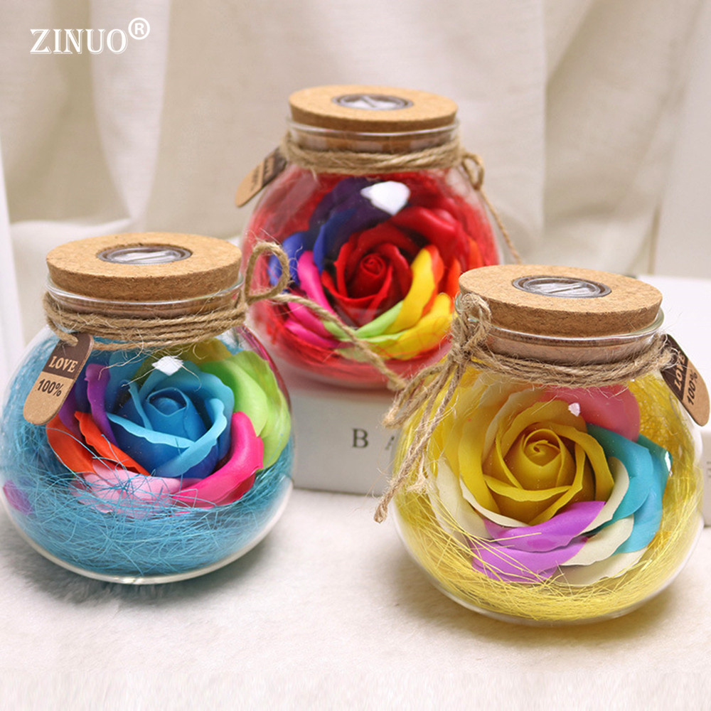 ZINUO Creative Flower NightLamp Battery Powered Rose Night Light LED RGB Dimmer Romantic Rose Bulb Valentine's Day Gift For Girl