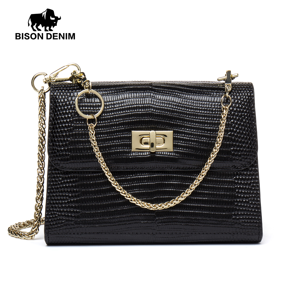 BISON DENIM Brand Shoulder Bag Female Handbag For Women Messenger Bags Chain Small Crossbody Bag Red/Black/Green N1415 120cm replacement metal chain for shoulder bags handle crossbody handbag antique bronze tone diy bag strap accessories hardware
