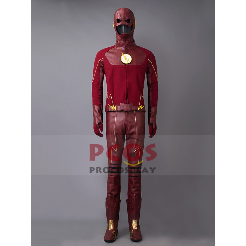 <font><b>The</b></font> <font><b>Flash</b></font> Season 2 Barry Allen <font><b>Cosplay</b></font> Costume & Mask & <font><b>Boots</b></font> mp003196 image