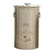 35L 304 ведро из нержавеющей стали для домашнего пивоварения, баррель для ферментации вина, боковая установка, баррель, открытый контейнер