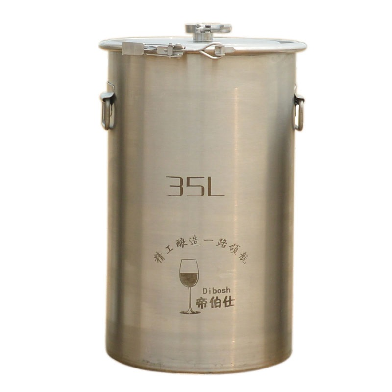 35L 304 Edelstahl-Eimer Home Brewing Fermentation Barrel Weinfermenter Side Fitting Barrel Top Open Container