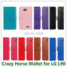 Elegant New Crazy Horse Pattern PU Leather Money Pouch Cover Case for LG L90 with Stand and Magnetic Fastener Cellphone Bag Free(China)
