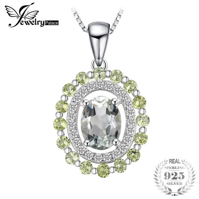 JewelryPalace Fashion 2ct Genuine Round Peridot Oval Green Amethyst Pendant 925