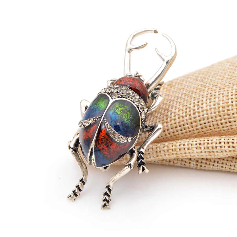 Cindy Xiang Vintage Alloy Enamel Beetle Bros untuk Wanita dan Pria Kreatif Bug Pin Fashion Serangga Lencana 3 Warna Pilih hadiah