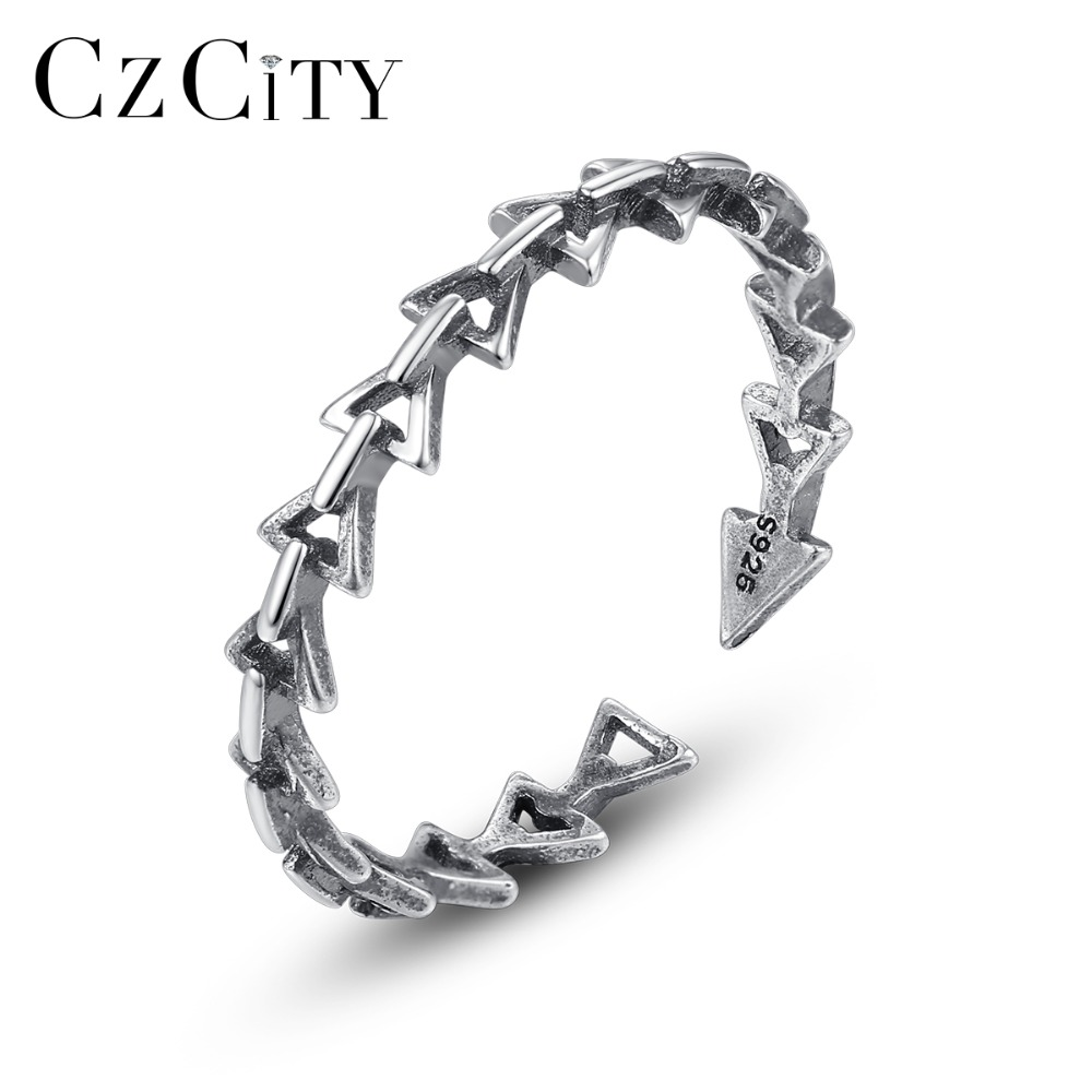 CZCITY Genuine <font><b>925</b></font> <font><b>Silver</b></font> <font><b>Sterling</b></font> Vintage Stackable Hollow Arrow <font><b>Rings</b></font> Carving <font><b>925</b></font> Link Arrow Open <font><b>Rings</b></font> <font><b>Men</b></font> Women Punk Jewelry image