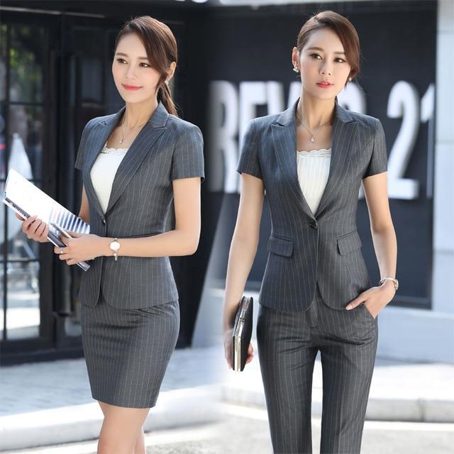 431f17046ad67 Élégant Gris Rayé Formelle Professionnel Femmes D affaires Costumes Avec  Vestes Et Pantalons Femme Pantalon