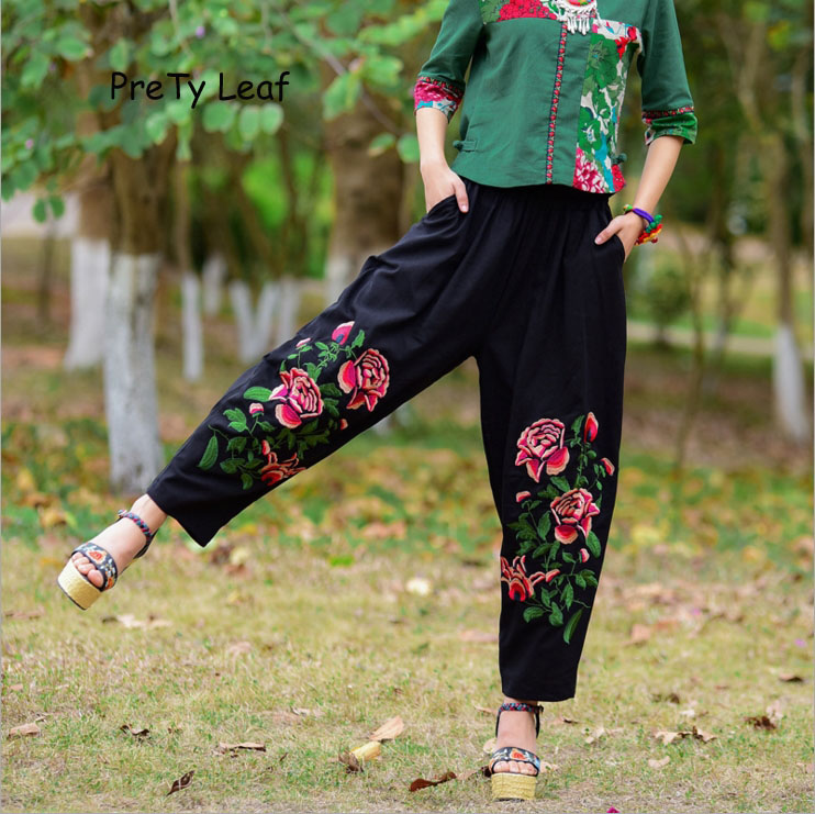 2018 Spring/Summer New Ethnic Style Embroidered   Wide     Leg     Pants