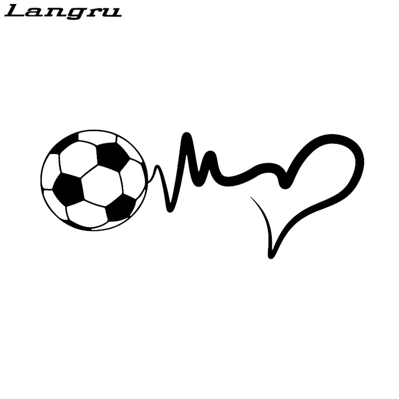 Langru Fashion Sports Soccer Ball Heartbeat Vinyl Motorcycle Car Sticker Decal Accessories Jdm(China)