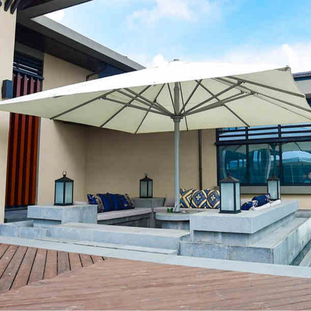 5x5meter square deluxe aluminum super big outdoor patio sun umbrella king parasol sunshade furniture covers with cross bar