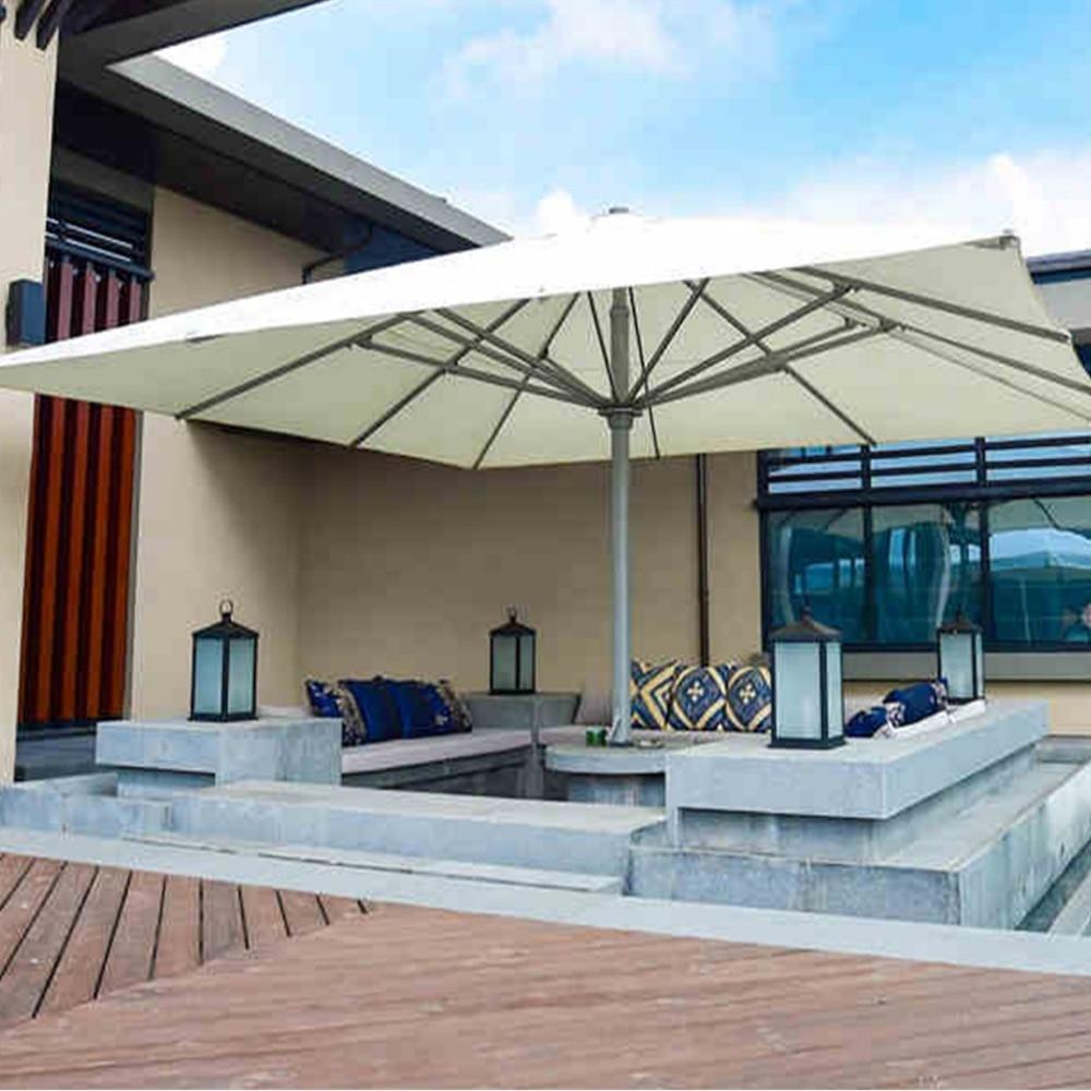 5x5meter Square Deluxe Aluminum Super Big Outdoor Patio Sun Umbrella King Parasol Sunshade Furniture Covers With Cross Bar