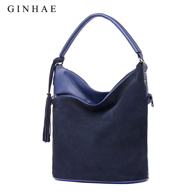 Double Layer Design Women Suede Leather Patchwork Bag Female Tassel Shoulder Bag Casual Crossbody Bags For Women Luxury Bolsos