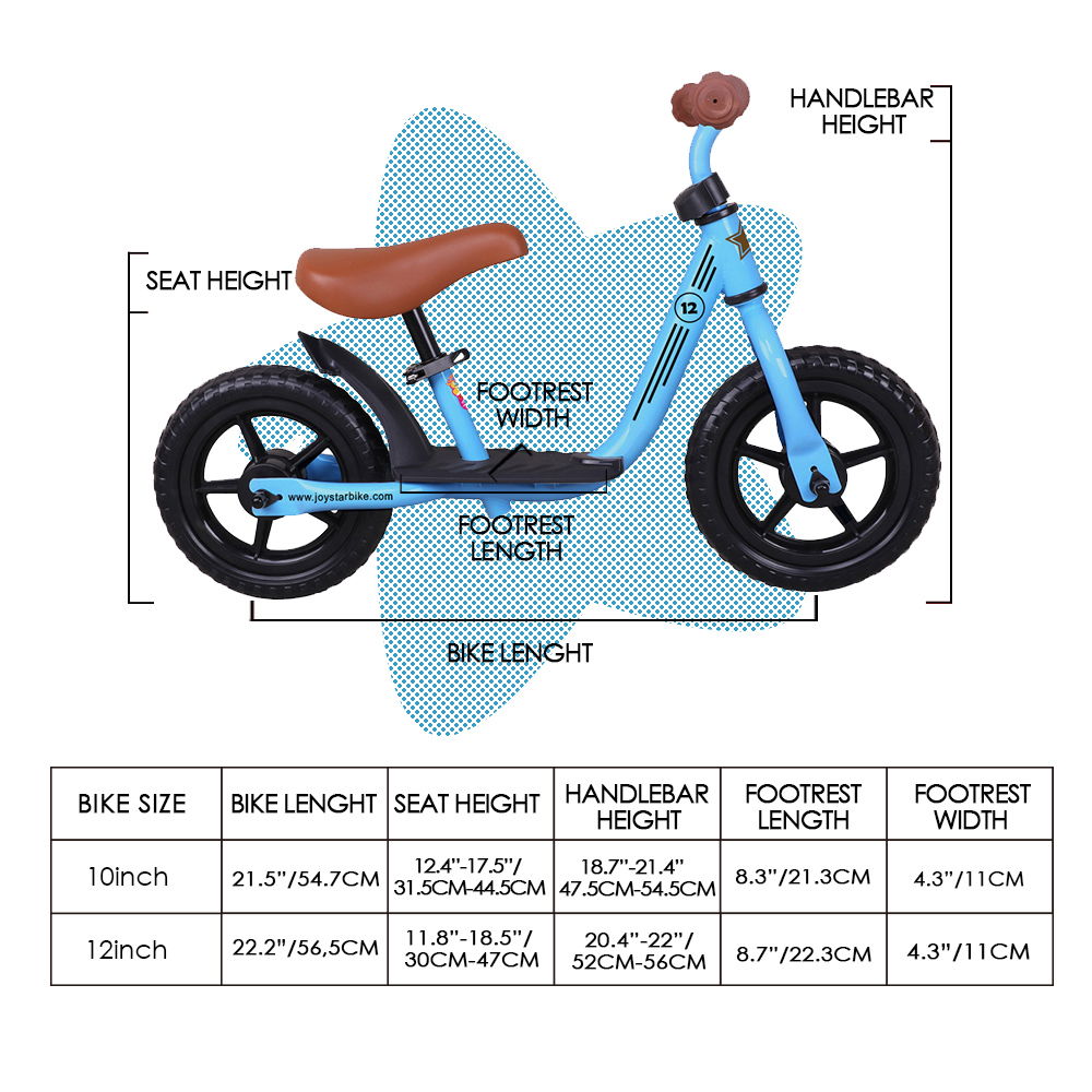 Joystar 10/12 inch Kids Baby Balance Bike Bicycle Learn to Ride Bike Ride on Toys with Footrest