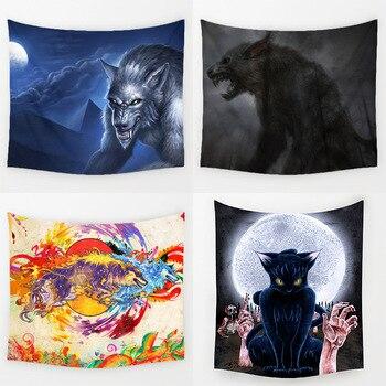 Comwarm Horrible Strange Animal Werewolf Pattern Wall Hanging Polyester Tapestry for Yoga Mat Living Room Decoration Art T132
