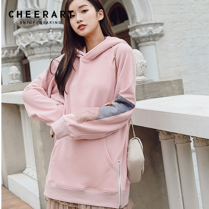 835ac8683930b Cheerart Pink Long Hoodie Pullover Autumn 2018 Sweatshirt Women Zipper  Hoodie Pocket Van Gogh Sweat Femme