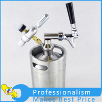 2L Stainless Steel Keg Growler With Beer Spears Tap Faucet With Co2 Injector Premium