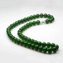 Hetian Natural jade 10mm collar de cuentas de moda joyería de Las Mujeres regalos